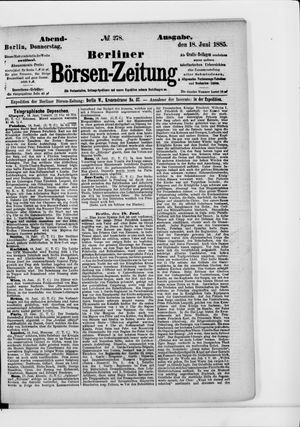 Berliner Börsen-Zeitung vom 18.06.1885