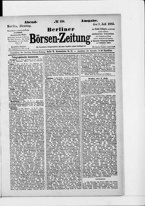 Berliner Börsen-Zeitung vom 07.07.1885