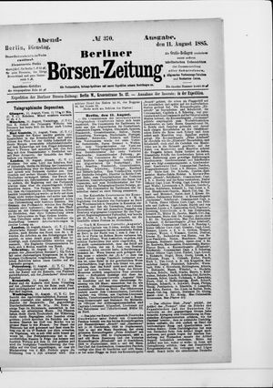 Berliner Börsen-Zeitung vom 11.08.1885