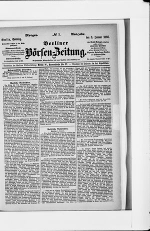 Berliner Börsen-Zeitung vom 03.01.1886