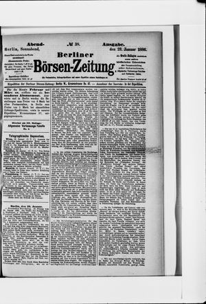 Berliner Börsen-Zeitung vom 23.01.1886