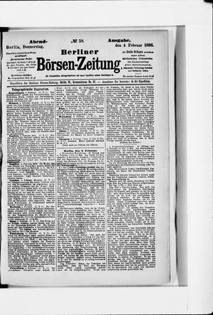 Berliner Börsen-Zeitung vom 04.02.1886