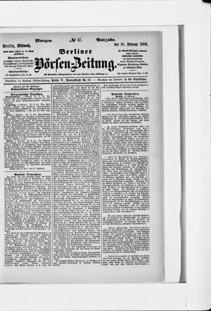 Berliner Börsen-Zeitung vom 10.02.1886