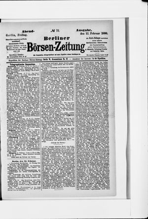 Berliner Börsen-Zeitung vom 12.02.1886