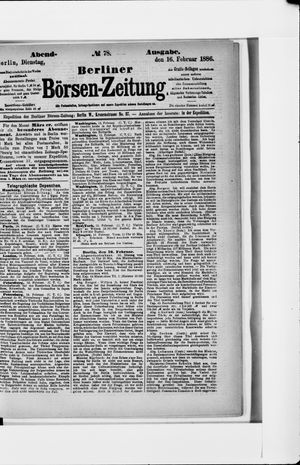 Berliner Börsen-Zeitung vom 16.02.1886
