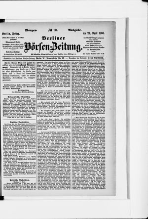 Berliner Börsen-Zeitung vom 23.04.1886