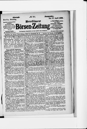 Berliner Börsen-Zeitung vom 27.04.1886