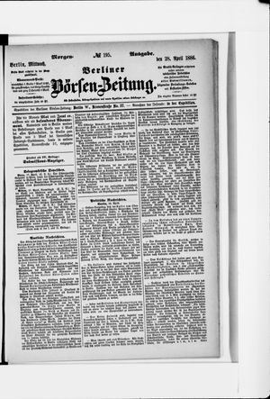 Berliner Börsen-Zeitung vom 28.04.1886