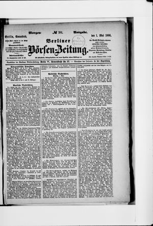 Berliner Börsen-Zeitung vom 01.05.1886