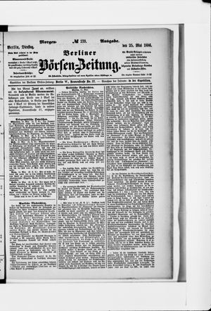 Berliner Börsen-Zeitung vom 25.05.1886