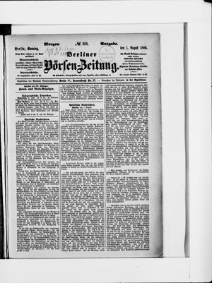 Berliner Börsen-Zeitung vom 01.08.1886
