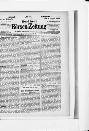Berliner Börsen-Zeitung vom 04.08.1886