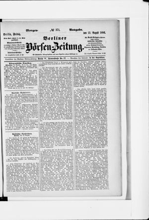 Berliner Börsen-Zeitung vom 13.08.1886