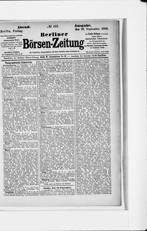 Berliner Börsen-Zeitung vom 10.09.1886