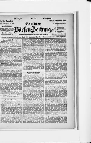 Berliner Börsen-Zeitung vom 11.09.1886
