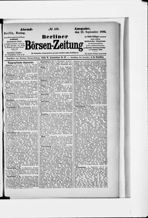 Berliner Börsen-Zeitung vom 13.09.1886