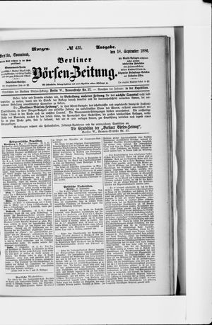Berliner Börsen-Zeitung vom 18.09.1886