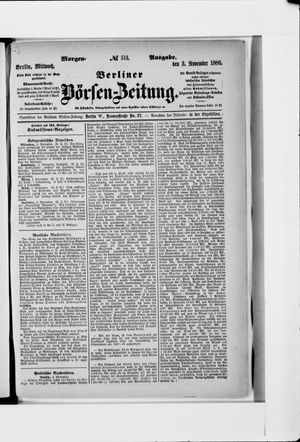 Berliner Börsen-Zeitung vom 03.11.1886