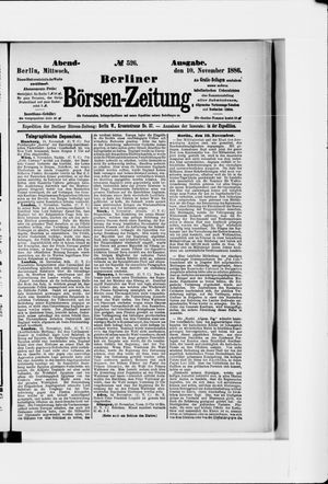Berliner Börsen-Zeitung vom 10.11.1886