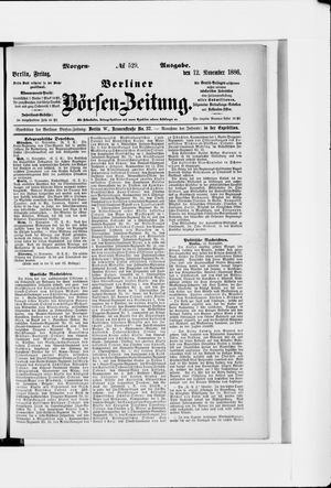 Berliner Börsen-Zeitung vom 12.11.1886