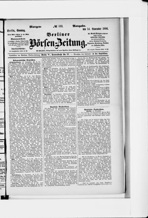 Berliner Börsen-Zeitung vom 14.11.1886