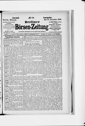 Berliner Börsen-Zeitung vom 17.11.1886