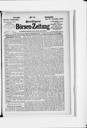 Berliner Börsen-Zeitung vom 18.11.1886