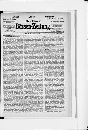Berliner Börsen-Zeitung vom 19.11.1886