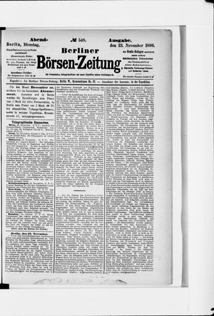 Berliner Börsen-Zeitung vom 23.11.1886