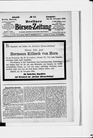 Berliner Börsen-Zeitung vom 24.11.1886