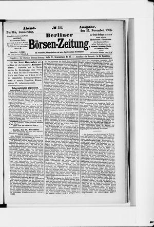 Berliner Börsen-Zeitung vom 25.11.1886
