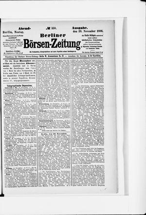 Berliner Börsen-Zeitung vom 29.11.1886