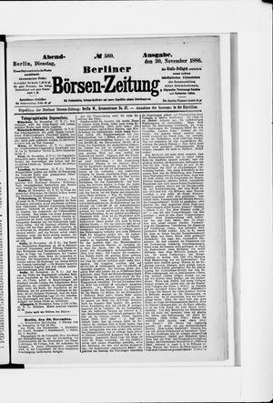 Berliner Börsen-Zeitung vom 30.11.1886