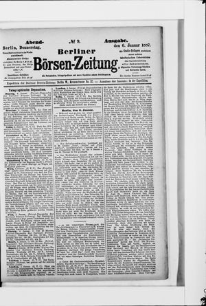 Berliner Börsen-Zeitung vom 06.01.1887