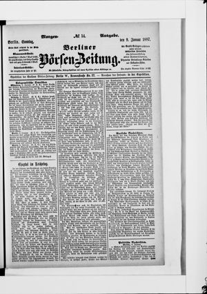 Berliner Börsen-Zeitung vom 09.01.1887
