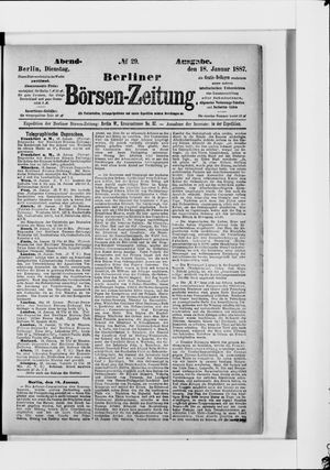 Berliner Börsen-Zeitung vom 18.01.1887