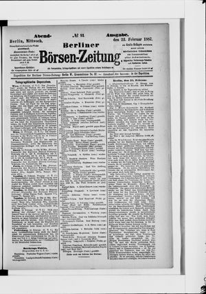 Berliner Börsen-Zeitung vom 23.02.1887
