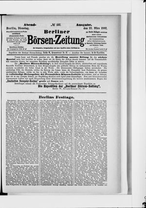 Berliner Börsen-Zeitung vom 22.03.1887
