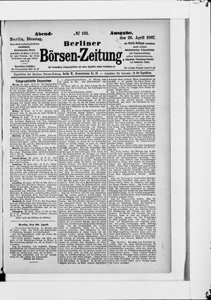 Berliner Börsen-Zeitung vom 26.04.1887