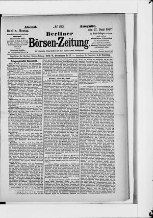 Berliner Börsen-Zeitung vom 27.06.1887