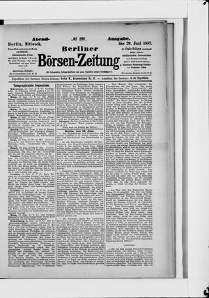 Berliner Börsen-Zeitung vom 29.06.1887