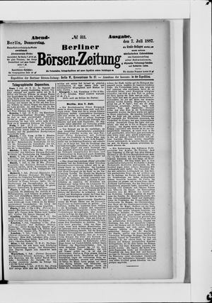 Berliner Börsen-Zeitung vom 07.07.1887
