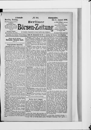 Berliner Börsen-Zeitung vom 05.08.1887