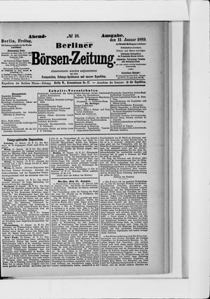 Berliner Börsen-Zeitung vom 11.01.1889