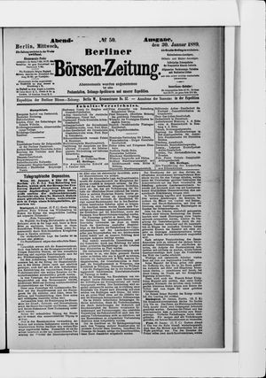 Berliner Börsen-Zeitung on Jan 30, 1889