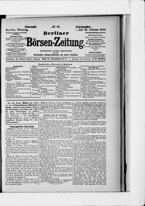 Berliner Börsen-Zeitung vom 26.02.1889