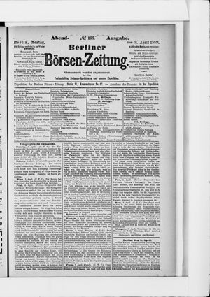 Berliner Börsen-Zeitung vom 08.04.1889