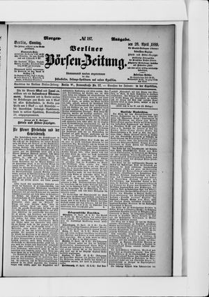 Berliner Börsen-Zeitung vom 28.04.1889