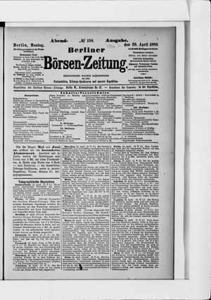 Berliner Börsen-Zeitung on Apr 29, 1889