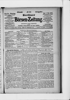 Berliner Börsen-Zeitung vom 07.05.1889